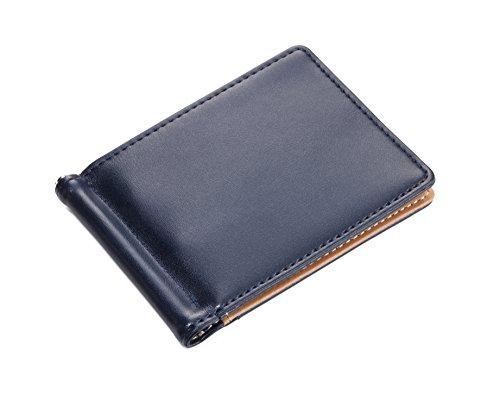 Leder-flug-jacke (TROIKA SANDY BEACH – MYC26/NB – Geldscheinklammer und Kartenetui – 6 Fächer für Kreditkarten – 1 Außenfach – Leder/Kunstleder – matt – marineblau, beige – TROIKA-Original)