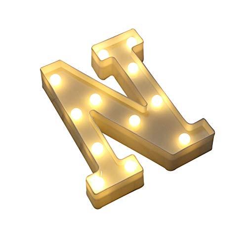 Omufipw - Letrero de luces LED con 26 letras del alfabeto, para bodas, cumpleaños, fiestas, decoración...