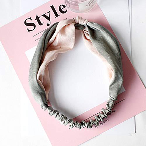 SHFives Neue Ankunft Mädchen Stirnband Armbrust Haarbänder Vintage Ribbon Head WearHaarspangenfür Frauen, Ligh pink und grau