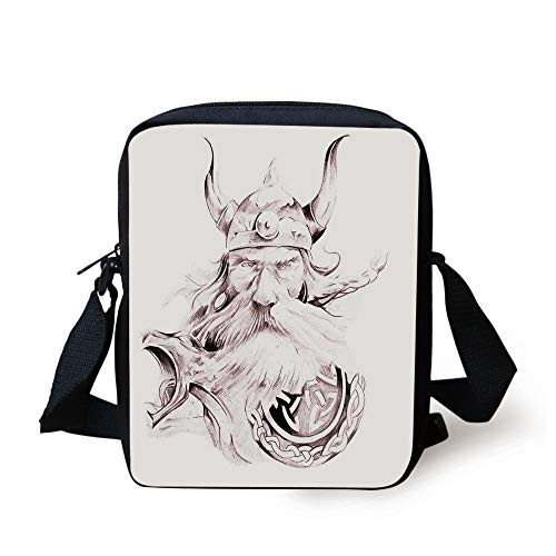 Tattoo Decor,Head of Wolf the Fierce Warrior Big Dog of the Forest Winter Themed Image,White and Black Print Kids Crossbody Messenger Bag Purse -