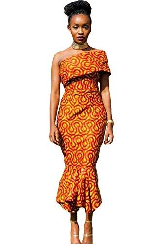 Damen Sommerkleid, im Meerjungfrau-Design, afrikanisches Muster, mit einer freiliegenden Schulter, Jersey-Stoff, lang, Größe S (entspricht EU-Größe 36 – 38), Orange Meerjungfrau Kleid Muster