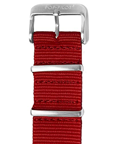 Pop Pilot Damen Stoff Uhrenarmband Dark-Red M 22mm