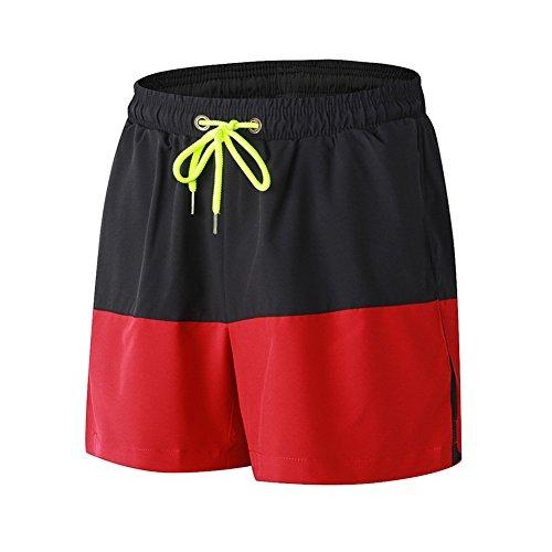 Junshan shorts Trainingsshorts kurze Hose für Herren schwarz+rot