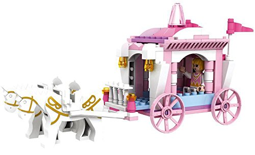 Saffire Girls Princess Horse Carriage Building Block Set, Multi Color