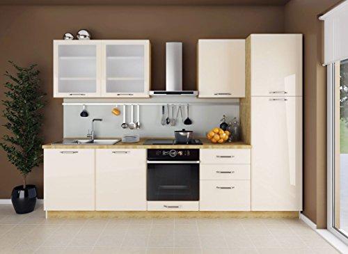 Küchenzeile/Küchenblock Fagali 22, 8-teilig, Farbe: Eiche Braun/Creme Hochglanz
