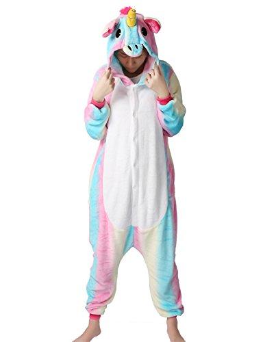 Kigurumi Pyjama Licorne Adulte Unisexe Ensemble de Pyjama Animaux Cosplay Costume Combinaison Soirée de Déguisement, Multi-Bleu, X-Large
