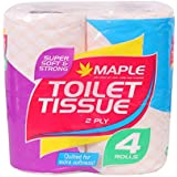 Maple 2 Ply Imported Premium Toilet Tissue Roll - Quilted for Extra Softness! (Pack of 4)