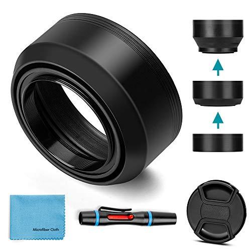 55mm Gegenlichtblende-Gummi,Fotover Universal Zusammenklappbar Sonnenblende Streulichtblende Kompatibel mit Canon Nikon Sony Pentax Olympus Fuji Kamera mit Objektivdeckel