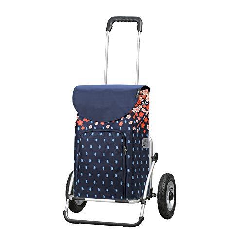Andersen Einkaufstrolley Royal XXL klappbar mit luftbereiftem Kugellagerrad 25 cm und 41 Liter Einkaufstasche Lily mit Kühlfach blau/orange