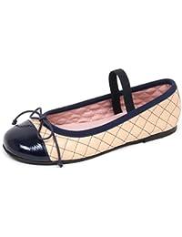 Pretty Ballerinas E1916 Ballerina Bimba Beige/Blu Scarpe Shoe Kid Girl