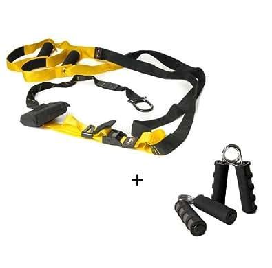 Body Coach Power Sling Total Suspension Trainer Nylon mit DVD, gelb/schwarz, 16250 + KAWANYO Handtrainer