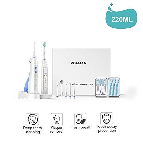 Dentalwasser-Flosser, Akku-Dental-Flosser für Teeth mit 5 austauschbaren Tipps, wiederaufladbarer Oral-Bewässerer für Reisen & Home Use, IPX7 wasserdicht - Weiß, Familienanzug (Power Dental Flossers)