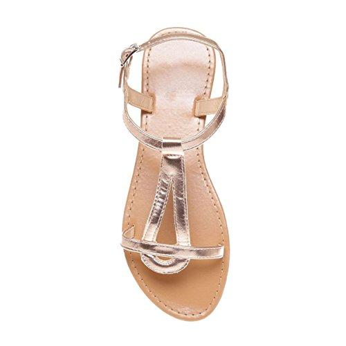 La Modeuse - Sandales plates dotées de brides aspect cuir doré Doré rose