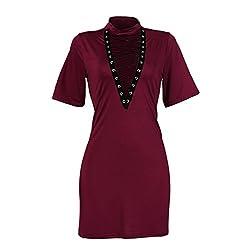 Rosennie Women Bandage Bodycon Evening Party Short Sleeve Mini Dress