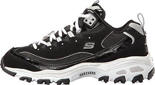 Schuhe Skechers D lites Me Time Memory Foam 11936 BKW Black White Damen
