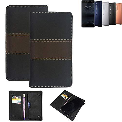K-S-Trade® Handy Hülle Für Nokia 5 Dual-SIM Schutzhülle Walletcase Bookstyle Tasche Schutz Case Handytasche Wallet Cover Kunstleder Snapcase Dunkelbraun, 1x