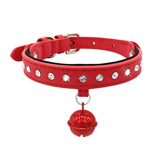 (Amphia - Exquisite Diamant einstellbar Strass Schnalle mit Glocke Hundewelpen Haustier Halsbänder(XS))