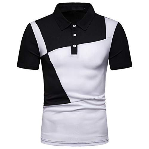 Preisvergleich Produktbild Moserian Herrenhemden Mode Kurzarm Splicing Malerei Große Größe Casual Top Bluse Shirts
