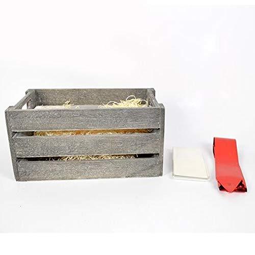 Bakaji christmas set cesto natalizio in legno con cassetta fiocco e paglia cesta confezione regalo di natale dimensione 14 x 16 x 28 cm