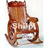 Shilpi Amazing Hand Carved Rocking Chair(Brown)