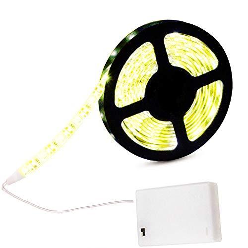 cuzile LED Lichtleiste Flexibel Warmweiß 200cm 66in + Batterie Box + Schalter Batteriebetrieben