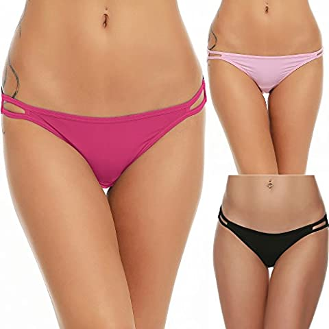 Ekouaer Sexy Bikini Panties Womens 3 Pack Invisible Briefs Underwear Red Assorted, XL