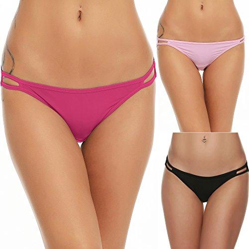 EKOUAER Damen Bikini Panty Seam Freier String Mikrofaser Slips im 3er-Pack Verschiedene Farben Klein Schwarz/Rosa/Rose Red (3er-Pack) -