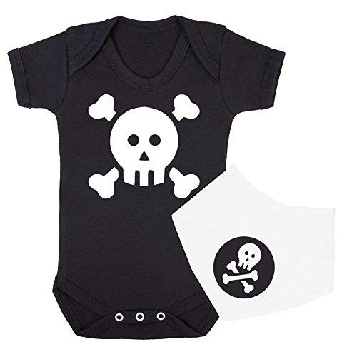 'calavera y tibias cruzadas' niños Babygrow y Bandana babero Set de (negro y blanco) Talla:0-3 Meses