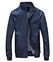 Fulok Mens Solid Long Sleeve Stand Collar Thin Casual Jacket XXS Blue