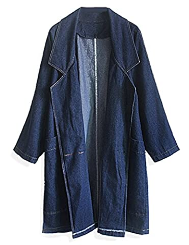 JOLLYCHIC Women's Spring Solid Polo Collar Long Sleeve Denim Jacket Size 12 UK Blue