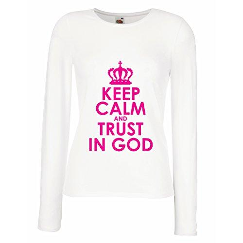 Weibliche Langen Ärmeln T-Shirt Vertraue Gott! Jesus Christus liebt Dich - Ostern - Auferstehung - Geburt Christi, Christliche Kleidung (XX-Large Weiß Magenta)