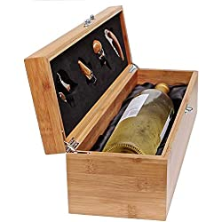 CASE ELEGANCE Coffret Cadeau Vin, Accessoires Sommelier, Cadeau Original Boite pour Vin avec Tire-Bouchons, Bec verseur, Bouchon et Coupe Capsule, Coffret en Bambou