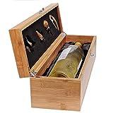 CASE ELEGANCE Wein Geschenk Box - Weinzubehör für 0,7 Liter Flaschen - Dekantierset Sommelier Set - Weinkiste Geschenkset Weinkoffer -