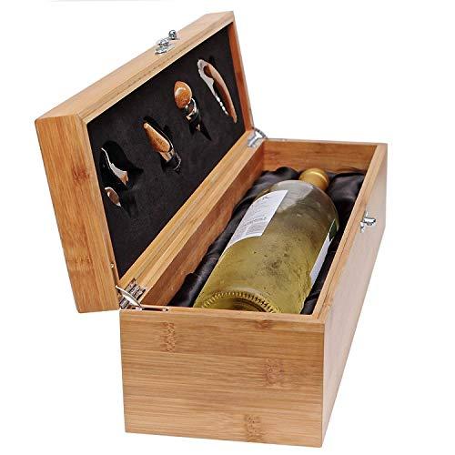 CASE ELEGANCE Wein Geschenk Box - Weinzubehör für 0,7 Liter Flaschen - Dekantierset Sommelier Set - Weinkiste Geschenkset Weinkoffer