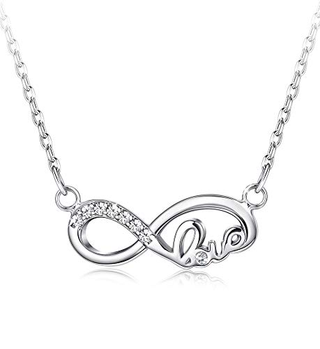 Kawei Infinity-Halskette mit Swarovski-Zirkonia für Damen Sterling Silber Liebe Anhänger Halskette Schmuck Geschenk 18 '' -