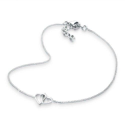 Elli Damen Fußkettchen Herz in 925 Sterling Silber - 25cm Länge