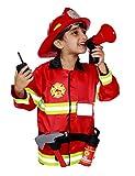Matissa Kinder Feuerwehrmann Rollenspiel Kostüm und Zubehör Feuerwehr Feuerwehrchef (Klein (3-5 Jahre), Vollständiger Satz)