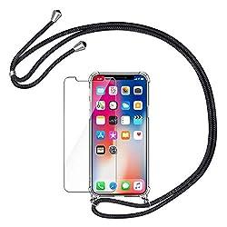 AROYI Handykette Handyhülle + Panzerglas Schutzfolie für iPhone X/XS Hülle mit Kordel zum Umhängen Necklace Hülle mit Band Schutzhülle Transparent Silikon Acryl Case für iPhone X/XS -Schwarz