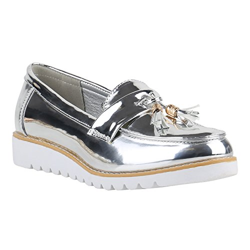 Damen Loafers Quasten Glitzer Slipper Profilsohle Dandy Geek Silber Weiss