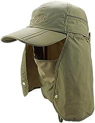 FEOYA Nuevo Sombrero Anti-UV Gorra con Visera Transpirable de Pesca con Ala y Máscara Extraíble Protege Cuello Cara Protección Solar para Hombre Mujer