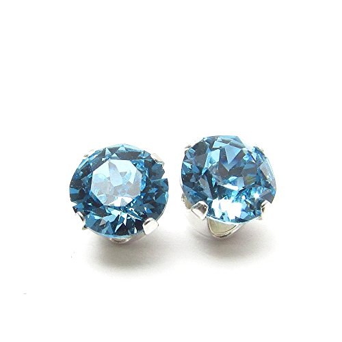 925 Sterling Silver Stud Earrings set with Aqua blue Swarovski Crystal Stones. Gift Box. Made in England. Beautiful jewellery for very special people.