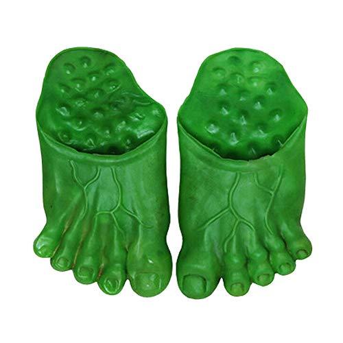 Domire 1 Paar Monster Feet Big Foot Slippers Halloween Cosplay Props Hulk Green Giant Feet Hausschuhe Socken-Party-Zubehör (Grün) (Halloween Hollywood Paar Kostüm)