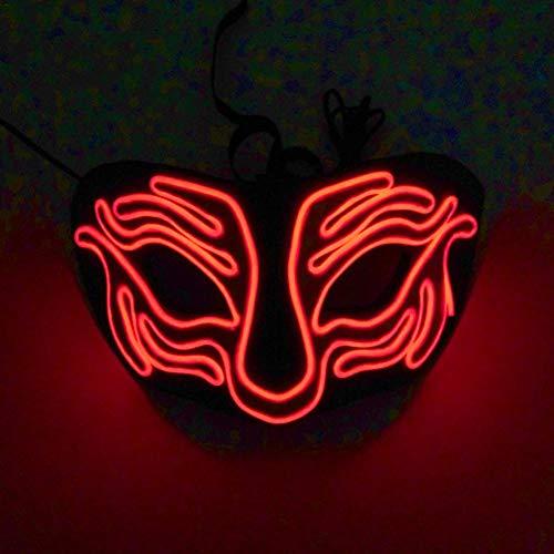 Adminitto88 Masken Für Erwachsene LED Leuchten Phantasie Ball Leuchtende Maske Kaltlicht Halloween EVC Tiger Dance Maske Flash Maske Für Masquerade Party (ohne Batterie) (Halloween Flash Dance)