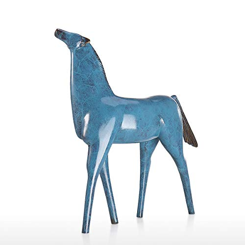 Tooarts Anhebung Kopf Pferd Skulptur Bronze Tier Skulptur Pferd Statue Figur Home Office Desktop Ornament Dekorative Akzent