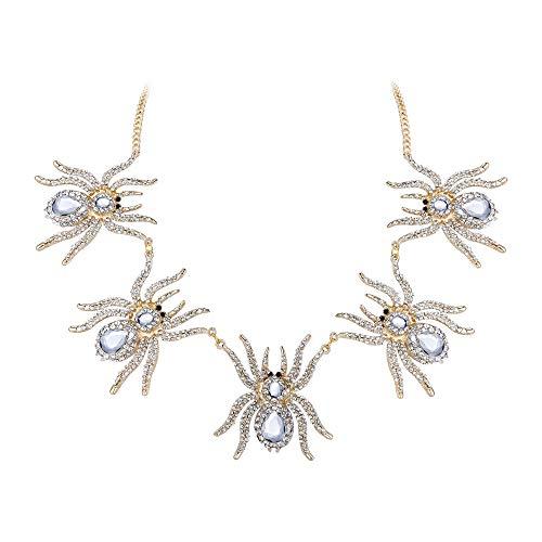 Ever Faith Österreichische Kristall Halloween Party 5 Spider Tier verstellbare Halskette Klar Gold-Ton