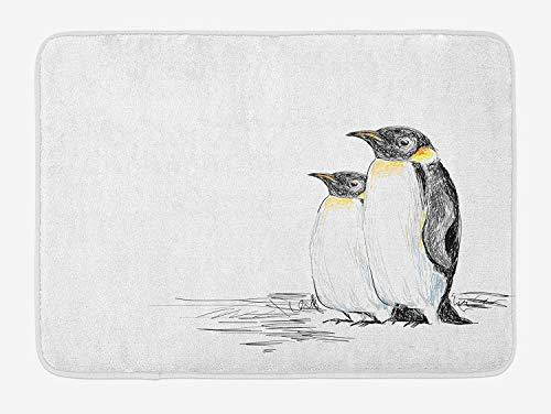 VTXWL Sea Animals Bath Mat, Hand Drawn Art Penguins Aquatic Flightless Birds Polar South Pole Wildlife, Plush Bathroom Decor Mat with Non Slip Backing, 23.6 W X 15.7 W Inches, Black White (Liner Lime Green Cupcake)