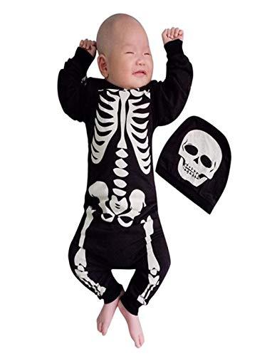 BaZhaHei Kinder Halloween Cosplay Kostüm Outfits Baby Neugeborenes Kleinkind Mädchen Jungen Halloween Kürbis Strampler Totenkopf Skelett Kostüm Overall mit Mütze (80, Schwarz A) (Skelett Kostüm Haar)