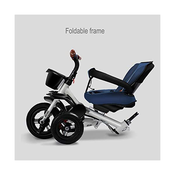 GSDZSY - Luxury 4 IN 1 Foldable Children Tricycle Stroller,360° Swivel Seat,With Detachable Push Rod And Awning,Seat And Handlebars Can Be Adjusted,Luxury Comfort Seat,18-60 Months,Blue_1A GSDZSY ❀ Material: High carbon steel + ABS + Rubber wheel, suitable for children from 1- 6 years old, maximum load 50 kg ❀ Features: The push rod can be adjusted heights; the seat can be rotated 360 to facilitate communication between mother and baby; adjustable parasol for different weather conditions ❀ Performance: high carbon steel frame, stronger and stronger bearing capacity; Rubber wheel is non-slip wearable suitable for all kinds of road conditions, seat is made of breathable fabric, baby ride is more comfortable 6