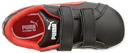 Puma Smash Fun L V Unisex-Kinder Sneaker Noir (Black/High Risk Red)