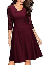 Miusol Damen Abendkleid Elegant Cocktailkleid Vintag Kleider 3/4 Arm mit Spitzen Knielang Party Kleid Weinrot Gr.36-46